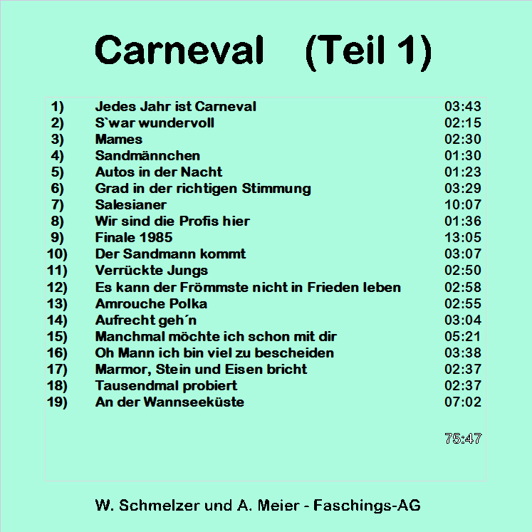 Carnevalsongs (Teil 1) - Back
