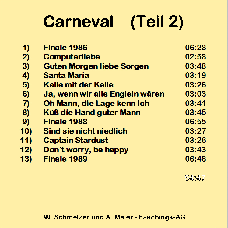 Carnevalsongs (Teil 2) - Back